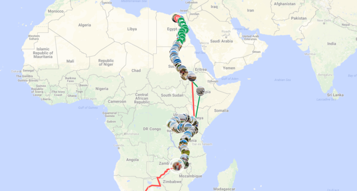Interactive Map Egypt To Zambia ALEX CYCLES AFRICA - Egypt interactive map