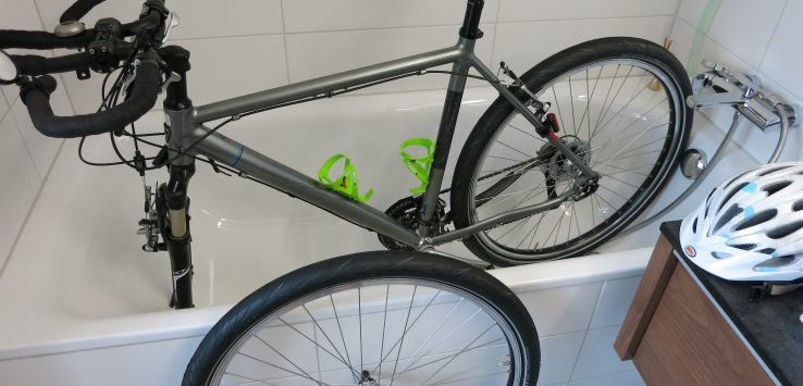 Cleaning my bike in the bathtub